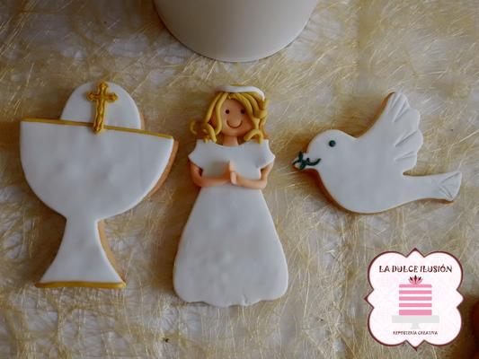 Galleta decorada niña rubia comunión 2017. Galleta chica comunión. Galletas comunión Cartagena, Murcia