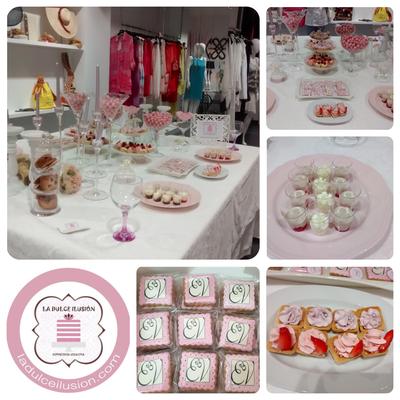 Mesa dulce boda en Cartagena. Candy bar boda en Cartagena. Tarta de boda, decoracion rosa y blanco, cupcakes, cakepops, cookies, bagel, golosinas. Photocall boda. La dulce ilsuion
