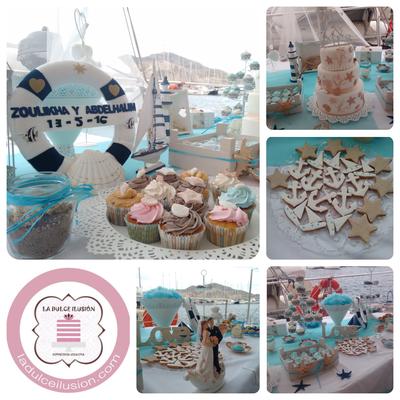 Cupcakes personalizados para boda en Cartagena, Murcia. Sabor vainilla, nata, fresa y mojito. Cupcakes de celebración para mesa dulce, candy bar en Cartagena, Murcia.