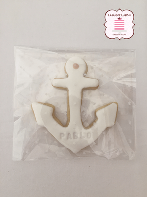 Galleta decorada marinero para comunión 2017. Galleta decorada ancla comunión. Galletas comunión Cartagena, Murcia