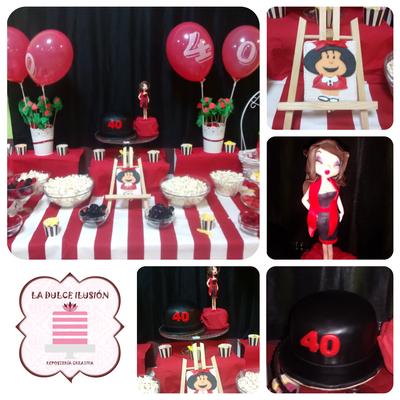 Mesa dulce Bety Boop en Cartagena. Candy bar celebracion en Cartagena. Tarta de cumpleaños, fondant, cupcakes, cakepops, cookies, bagel, golosinas, decoracion rojo y blanco, Bety Boop. Photocall Bety Boop, rojo y blanco. La dulce ilsuion