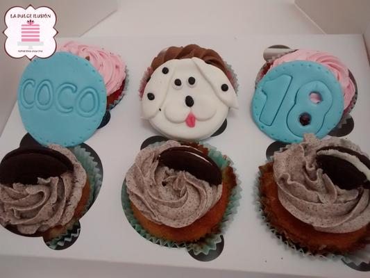 Cupcakes sabor Oreo. Cupcakes de perros, sabor vainilla. Cupcakes de animales personalizados en Cartagena, Murcia.