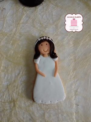 Galleta decorada niña morena comunión 2017. Galleta chica comunión. Galletas comunión Cartagena, Murcia