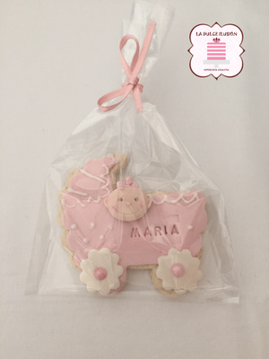 Galletas bautizo de niña. Galletas para Baby Shower de niña. Galleta de carricoche rosa.