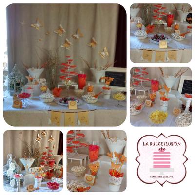 Mesa dulce boda en Cartagena. Candy bar boda en Cartagena. Decoracion banderines y mariposas, tarta de boda, cupcakes, cakepops, cookies, bagel, golosinas, decoracion naranja y blanco. Photocall comunion, fotos. La dulce ilsuion