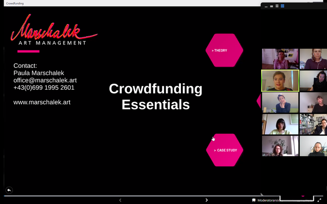 Crowdfunding workshop with Paula Marschalek in May 2020