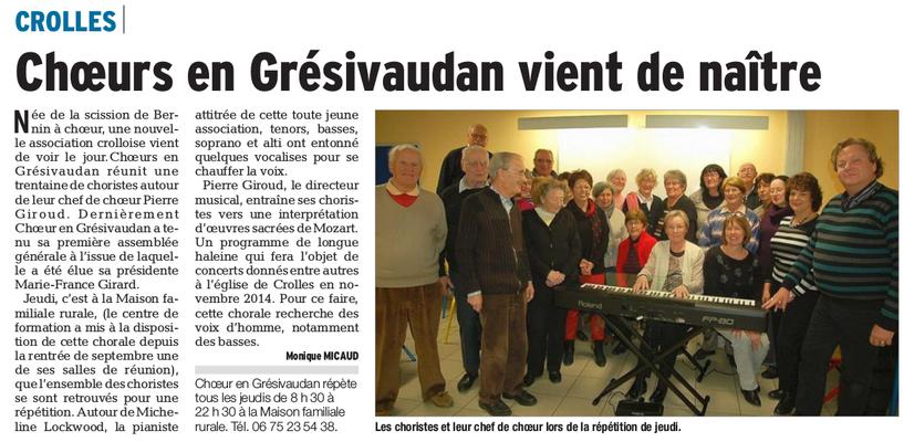 Article du Dauphiné Libéré du 01/12/2013