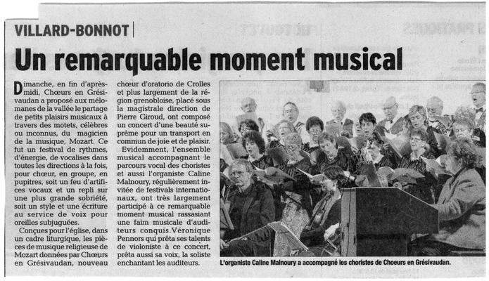 Article du Dauohiné Libéré du xx/11/2014