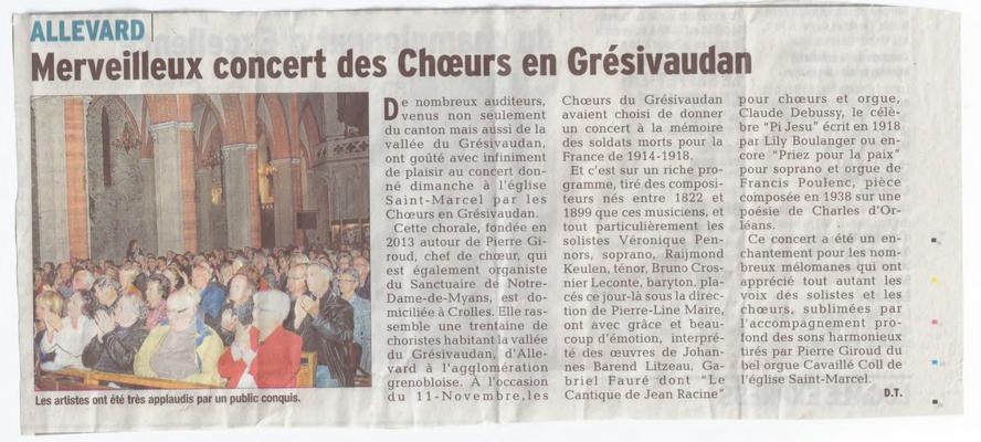 Article du Dauohiné Libéré du 14/11/2014
