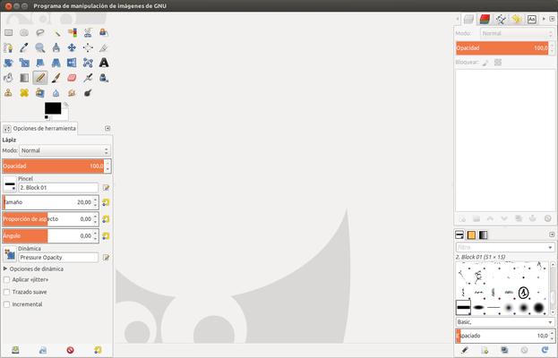Pantalla de inicio de GIMP