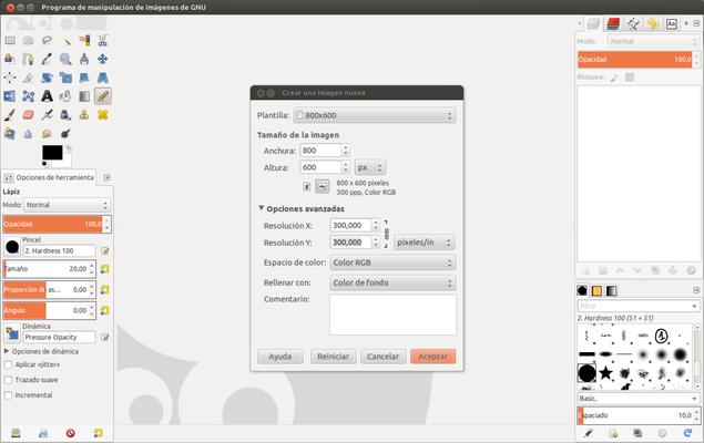 Crear una nueva imagen con GIMP