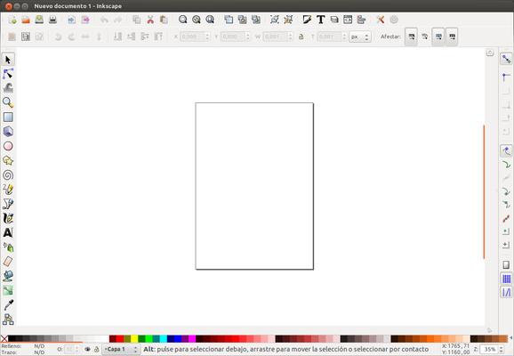 Pantalla de inicio de Inkscape