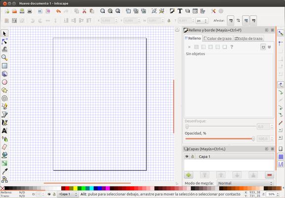 Guías, rejillas, capa y colores en Inkscape