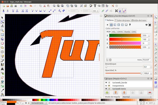 Detalle de letra vectorial en Inkscape