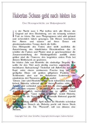 Hubertas Schuss geht nach hinten los, Eine Geschichte für Kinder zur Walpurgisnacht, Seite 1