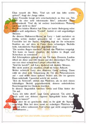 Lucy jagt sich selbst einen Schrecken ein, Eine Geschichte zu Halloween für Kinder, Seite 2