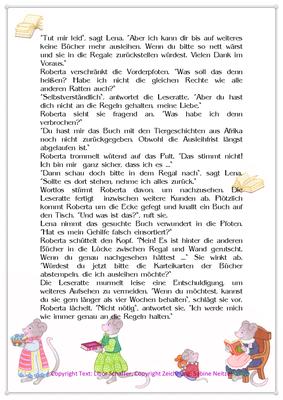 In Lenas Bücherei fehlt ein Band, Eine Geschichte für Kinder mit Leseratten, Seite 2