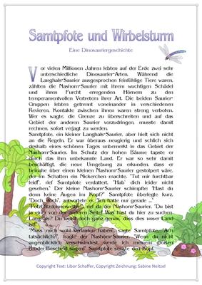 Samtpfote und Wirbelsturm, Eine Dinosauriergeschichte für Kinder, Seite 1