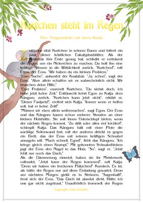 Kurtchen steht im Regen, Eine Tiergeschichte für Kinder mit einem Koala, Seite 1