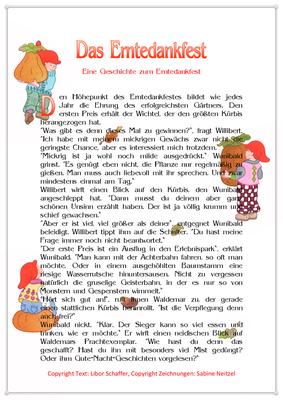 Das Erntedankfest, Eine Erntedankgeschichte für Kinder mit Wichteln, Seite 1
