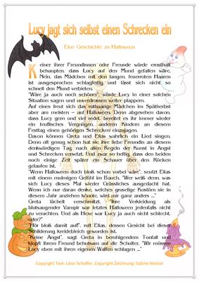 Lucy jagt sich selbst einen Schrecken ein, Eine Geschichte zu Halloween für Kinder, Seite 1