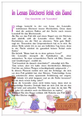In Lenas Bücherei fehlt ein Band, Eine Geschichte für Kinder mit Leseratten, Seite 1