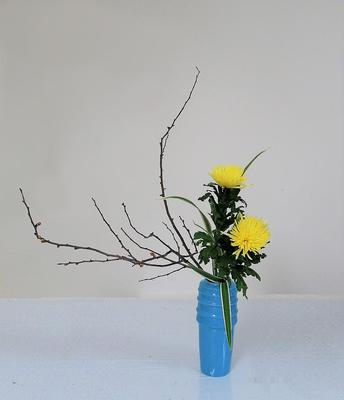 2020.2.19 <木瓜(ボケ) アナスタシア キキョウラン> Akikoさんの作品です。瓶に傾斜型のお稽古です。