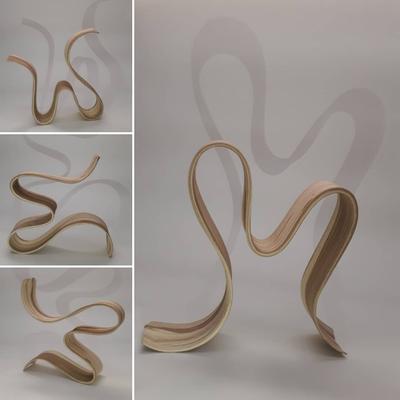 Dancer, multipositionable wheelthrown sculpture (2019), 37x37x9 cm