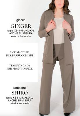 Ariell Divise da Lavoro Giacca Ginger Pantalone Shiro tessuto Antimacchia per Parrucchieri oppure tessuto Cady per Front Office