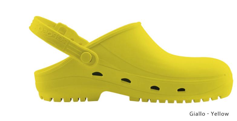 Ariell divise da Lavoro Zoccolo professionale in gomma termoplastica (SEBS),giallo antistatica e priva di lattice. Sterilizzabile in autoclave fino a 134 gradi