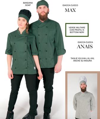 MAX grembiule giacca cuoco uomo e ANAIS grembiule giacca cuoco donna, colore a Tua scelta con il Tuo logo