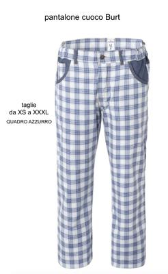 Ariell Divise da Lavoro pantalone chef quadro azzurro