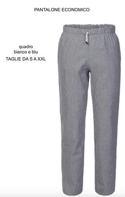 Ariell Divise da Lavoro pantalone chef economico quadretto bianco blu