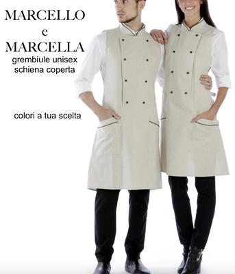 MARCELLO E MARCELLA grembiule poncho schiena coperta taglia unica, colori a Tua scelta con il Tuo logo