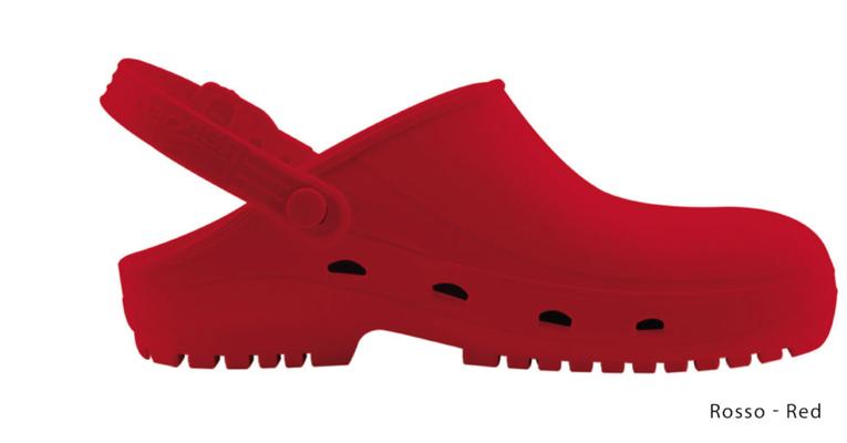 Ariell divise da Lavoro Zoccolo professionale in gomma termoplastica (SEBS),rosso antistatica e priva di lattice. Sterilizzabile in autoclave fino a 134 gradi