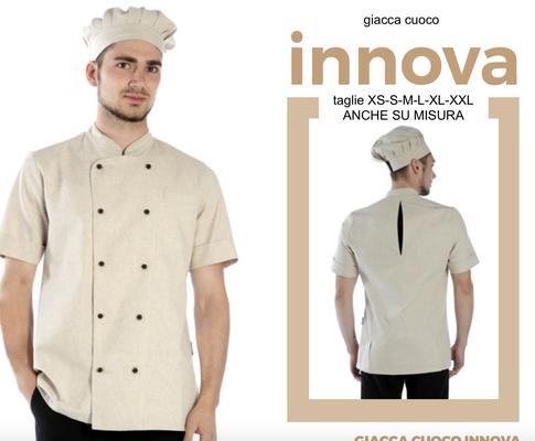 INNOVA giacca cuoco e pasticceria, colori a Tua scelta taglie dalla XS alla XXL. Con il Tuo logo