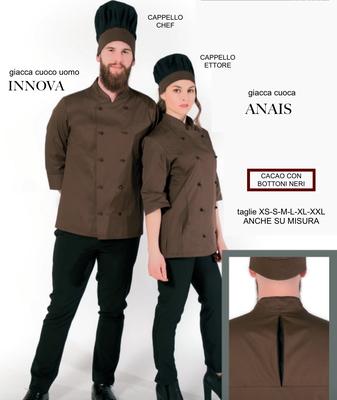 ANAIS camice giacca cuoco donna e BALY giacca cuoco uomo, colori a Tua scelta, taglie dalla XS alla XXL anche su misura con il Tuo logo