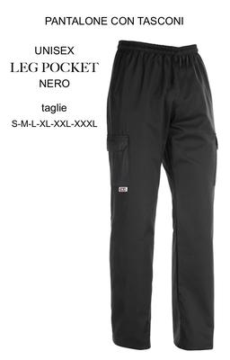 Ariell Divise da Lavoro pantalone con tasconi cuoco Egochef nero