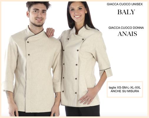 ANAIS camicie giacca cuoco donna con bordino in contrasto e BALY giacca cuoco uomo, colori a Tua scelta, taglie dalla XS alla XXL anche su misura con il Tuo logo