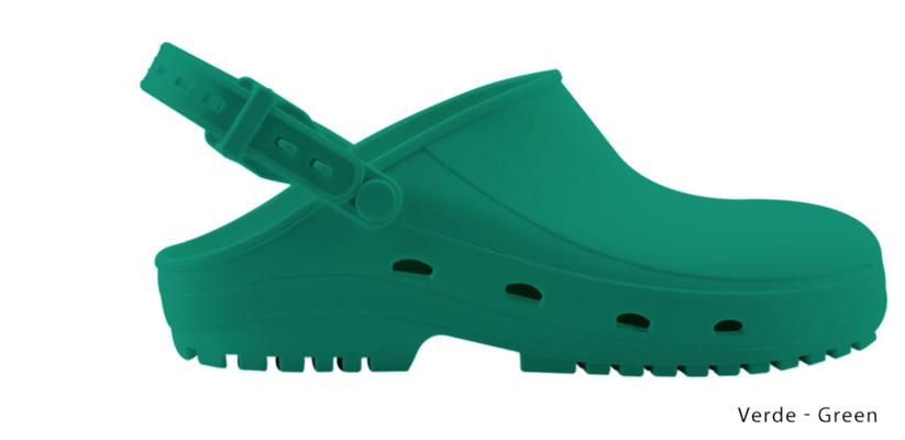 Ariell divise da Lavoro Zoccolo professionale in gomma termoplastica (SEBS),verde antistatica e priva di lattice. Sterilizzabile in autoclave fino a 134 gradi