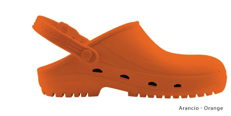 Ariell divise da Lavoro Zoccolo professionale in gomma termoplastica (SEBS),arancio antistatica e priva di lattice. Sterilizzabile in autoclave fino a 134 gradi