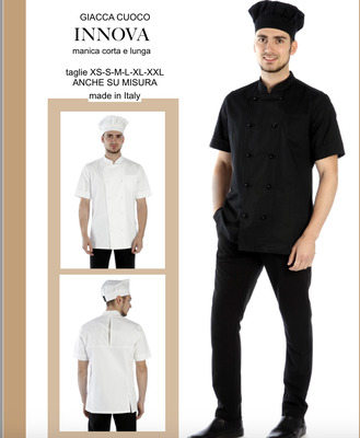 INNOVA giacca cuoco uomo anche a manica lunga, colori a Tua scelta, taglie dalla XS alla XXL anche su misura con il Tuo logo