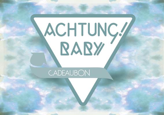 Cadeaukaart ontwerp voor Achtung! Baby, tweedehands kinderkleding in Den Haag