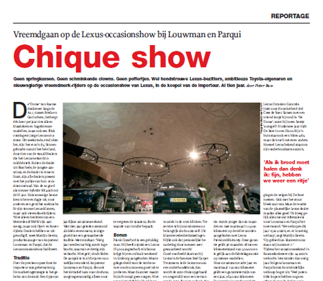 Automotive Sales Event - positief redactioneel artikel in de BOVAG-krant m.b.t. het Lexus Event bij Louwman & Parqui in Raamsdonksveer