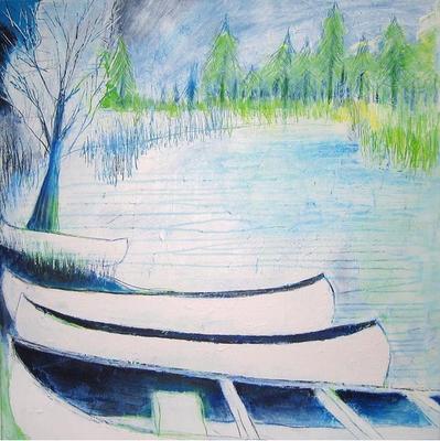 Wetlandi, 60 x 60 cm, Acryl/ Mischtechnik
