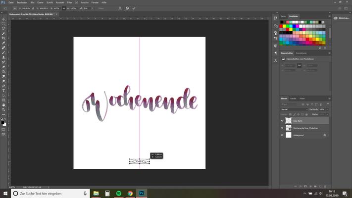 14. hier füge ich mein Logo genauso ein, wie ich das Bild eingefügt habe, skaliere und positioniere es, automatisch werden dir hier Hilfslinien angezeigt