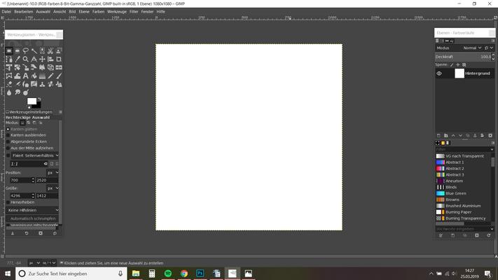 16. nach dem OK Klick offent sich automatisch dieses weiße Quadrat