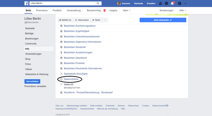 Bei Facebook, hast du auf deiner Seite unter Info, viele Dinge aufgelistet u.a. Datenrichtlinie...