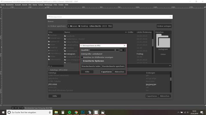 24. Name, Speicherort, Dateiformat (JPEG) und wieder ohne weitere Klicks exportieren