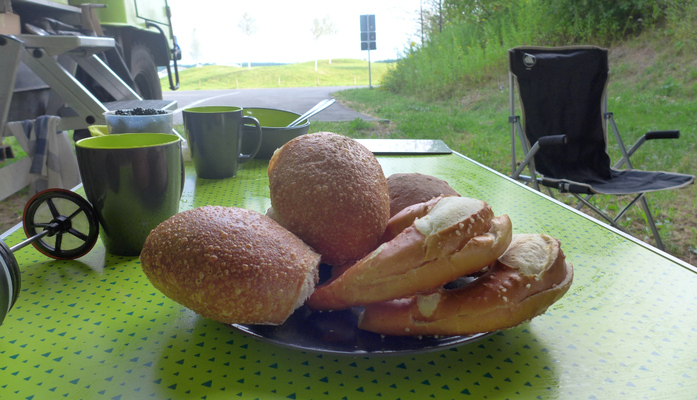 A great start. In Germany some nice guy brought us fresh bread.